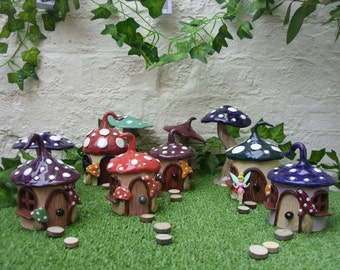Handcrafted Pottery Garden Fantasy Toadstool Fairy Houses