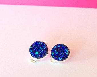Blue Druzy Clip On Earrings - Glitzy Bling - Suitable for all ages - 12mm Earring - FREE SHIPPING AUS