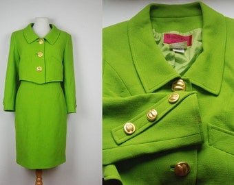 vintage CHRISTIAN LACROIX 80's 90's wool lime green skirt suit FR42