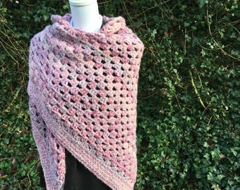 Winter Roses: Soft, warm triangle shawl / wrap, wool alpaca silk