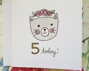 "Kitty ""5 Today"" Card Blank"