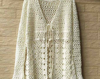 Tie Front Boho Crochet Cardigan Sweater Long Sleeve Women Blouse