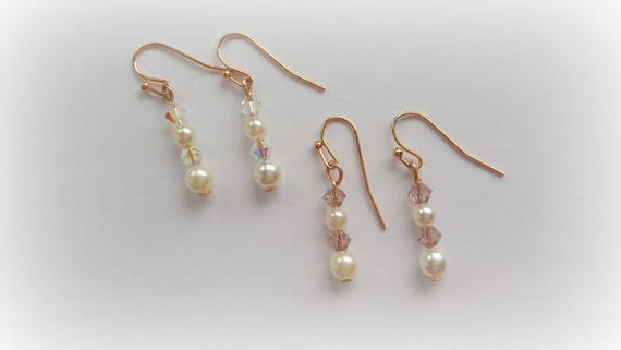 Rose Gold Pearl and Crystal Bridal Drop Earrings