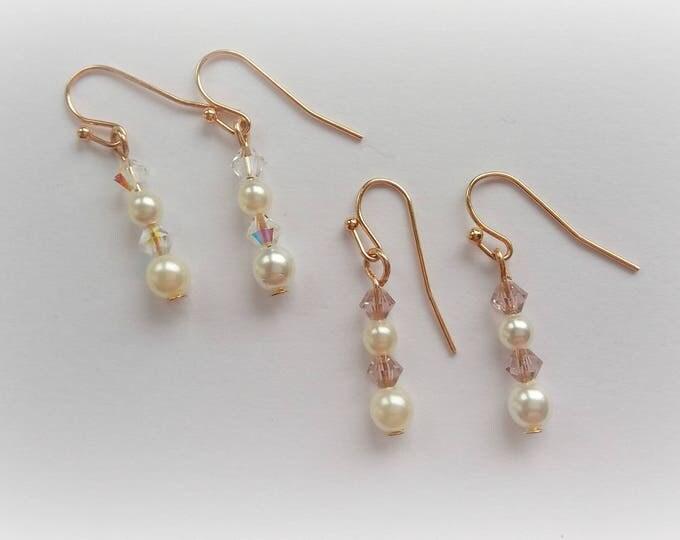 Rose gold earrings, bridal earrings, drop earrings, bridesmaid gift, Christmas gift, bridesmaid jewelry, blush earrings, gift for her