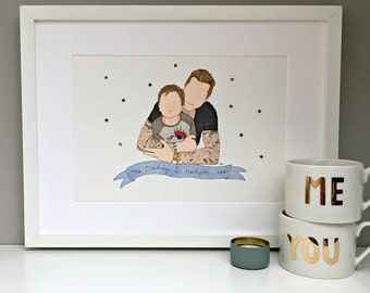Father's Day, personalised father and child portrait, gift for Dad