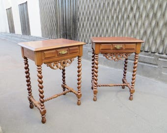Pair of french Louis XIII style side tables