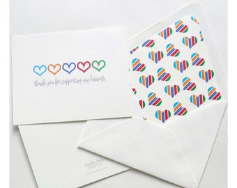 Rodan and Fields Thank You Foldover Card - Business Support - Heart Oulines