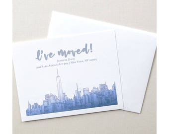 City Moving Announcements - New York City Skyline - Navy Ombre Watercolor