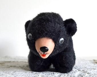 vintage stuffed bear circus bear black brown stuffed bear