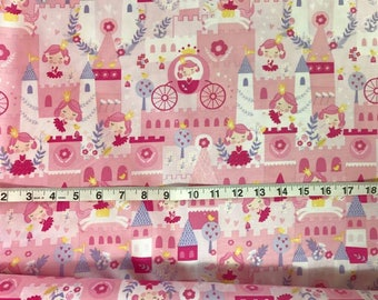 Pink Princess Castle Fabric 100% Cotton Fabric by the 1/2 Yard