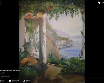 Mediterranean Amalfi  Coast Mural