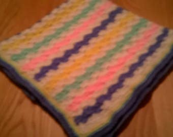 Baby Blanket  Hand Crocheted in Rainbow colours