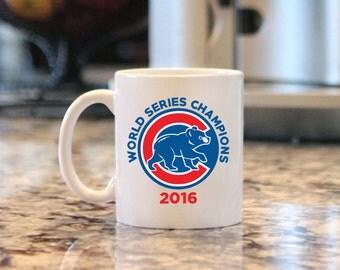 Cubs 2016 World Series Champions Mug, Chicago Cubs Mug, Fly the W Mug, Baseball Mug, 11oz. Ceramic Mug
