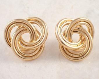 14K Yellow Gold Double Knot Earrings