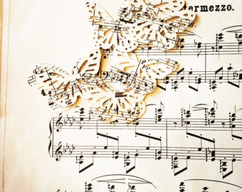 25 paper butterflies, vintage music sheets paper craft, card making , wedding table , decorations