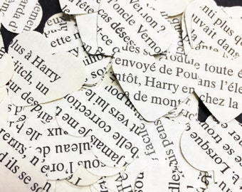 500 Harry Potter (In French) confetti hearts , party , wedding , card making , smashbooks, table top confetti