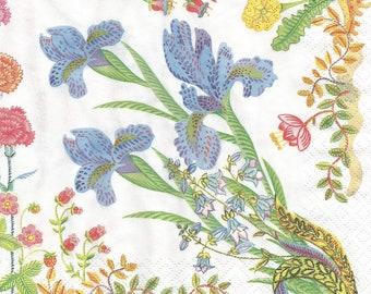Spring flowers decoupage paper napkins, 4 floral paper napkins, collage and mix media serviette,  g375