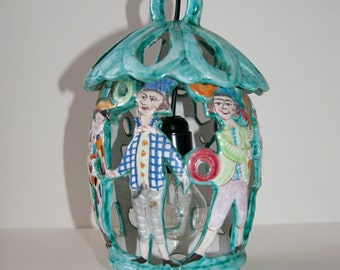 Vintage Commedia dell'arte Ceramics Chandelier Lantern Hanging lamp Italian mid century modern design Vietri Gambone style