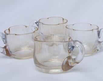 Set 4 Antique Moser Lustre Miniature Glass Punch Shot Cups - Circa 19th Century Bohemian Art Nouveau Flower Form