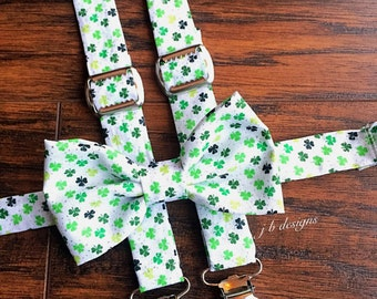Shamrock Bow Tie and Suspender Set | Shamrock Suspenders | Shamrock Bow Tie | Mens Bow Tie | Baby Bow Tie |  St. Patrick's Day Suspenders
