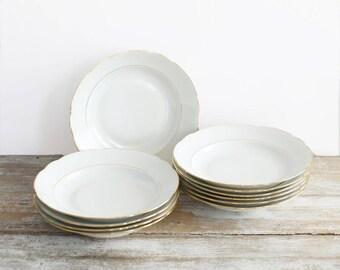 Set of eleven vintage porcelain plates with gold rim - Vintage porcelain from France - Hollow plates - Luxury porcelain Made in France
