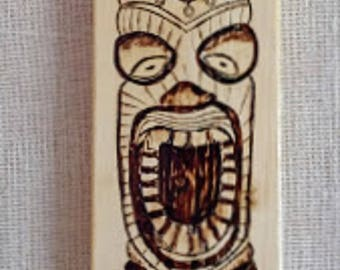 Tiki Mask Tower Woodburning Tiki Mask Pyrography Three Tiki Masks Rustic Tiki MasksTiki Bar Decor