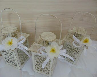SPRING APPLE BLOSSOM Wedding Decoration, Mini Candle Lanterns, Spring Wedding, mini lanterns,mini candle holder,lace lanterns,wedding decor