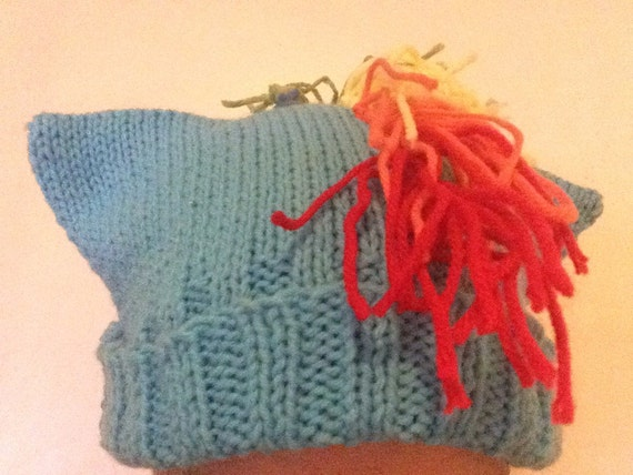 Blue Pony Hat - Hand-Knit Hat with Ears and Fringe - My Little Pony Rainbow Dash