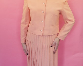 Late 1970's salmon pink skirt suit