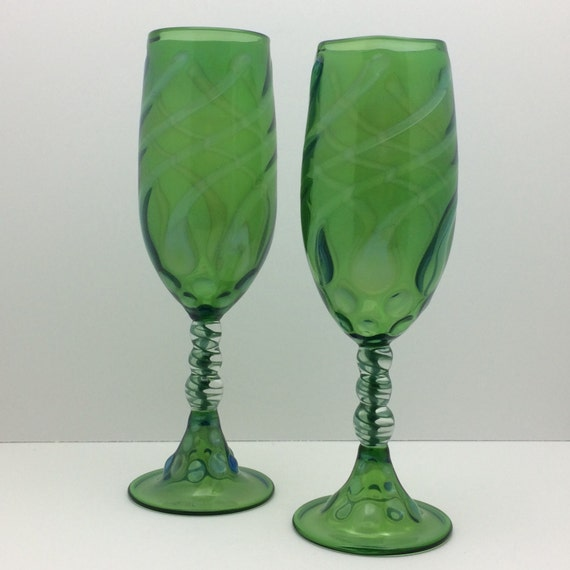 Champagne Flutes Hand Blown Glass Custom