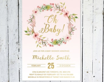 Baby Shower Invitation Girl, Floral Baby Shower Invitation, Gold, Wreath, Flowers, Boho, Printable, Printed