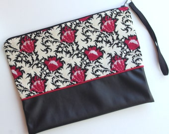 Pouch bag black and pink style Japanese
