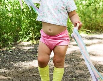 Pink baby shorts, pink shorts, bloomers, bloomer shorts, bummies, toddler shorts, shorties