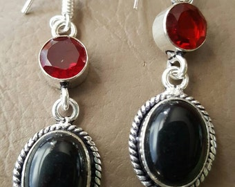Black Onyx and Red Quartz Earrings!