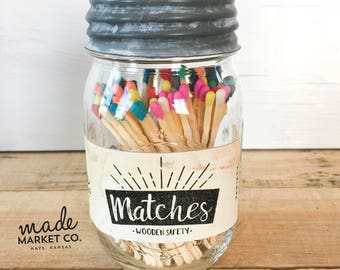 Variety Tip Colored Matches. Match Sticks Decorative Mason Jar. Farmhouse Home Decor. Unique Gifts for her. Best Seller Most Popular Item