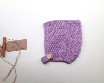 READY TO SHIP - 100% cashmere Baby Pixie Bonnet hat hand knitted, color Mauve light size 12-24m