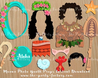 Moana themed Photo Booth Props Instant Download, Digital File, Printables