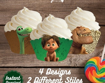 Good Dinosaur Cupcake Wrappers, Good Dinosaur Printable Cupcake Wrap, Good Dinosaur Birthday Party decoration, instant download, DIY