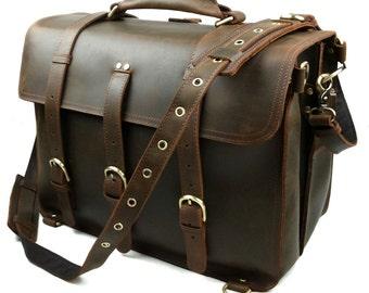 "Messenger Bag Over Sized Weekender Bag Crossbody Camera Briefcase Tote Backpack 16"" Laptop Genuine Cow Hide First Layer RH6"