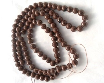 Double Strand of 8 mm Benchwork Glass Beads - Brown (1618)