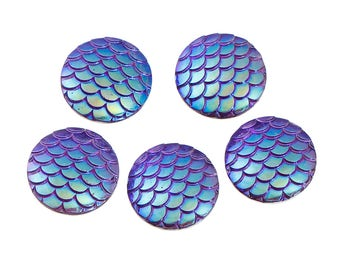 20 mm Acrylic Mermaid Scales Cabochons - Pack of 10 (1437)