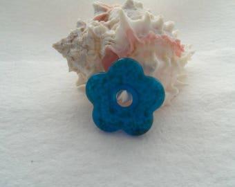 38 mm Dichroic Glass Flower Pendant - Dark Aqua  (1460)