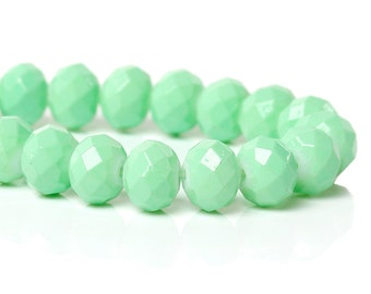 1 Strand Faceted Crystal Glass Rondelle Beads 8mm - Mint Green (B98b)