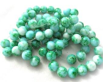 1 Strand 10mm Mottled Glass Round Beads Dark Green/White (B147a9)