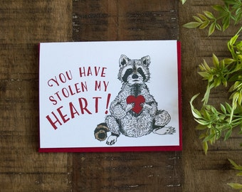 Valentine's Day card, Raccoon Card, Love Greeting Card, Anniversary Card, Card for Boyfriend, Card for Girlfriend, Valentine