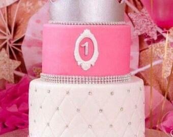 Princess crown fondant , gold or silver cake topper
