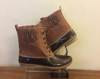 SALE NOW 44. BROWN  Duckboots, Monogram  adult Duck Boots, Rain Boot, Boat-Shoe Style, Shoes,Two Tone,Half Size Small