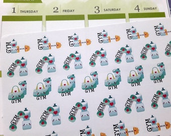 Workout stickers, gym stickers, exercise stickers, planner stickers, kawaii stickers for Erin Condren, Happy Planner, Filofax, Kikki K