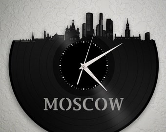 World Travel Art - World Wall Art - Moscow Skyline Clock, Russian Clock, World City Clocks, International Clock, World Traveler Gift Idea
