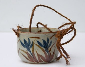 Vintage Hanging Pottery Planter Takahashi Japan Stoneware
